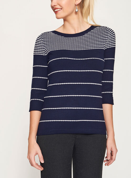 Ottoman Stripe Print 3/4 Sleeve Sweater, Blue, hi-res