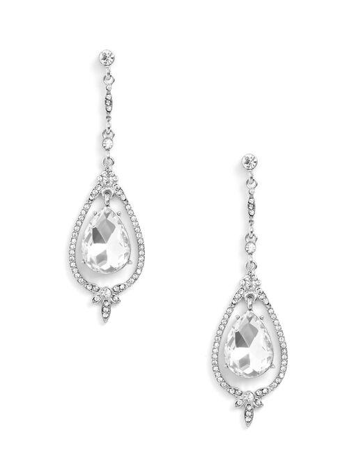 Teardrop Dangle Earrings , Silver, hi-res