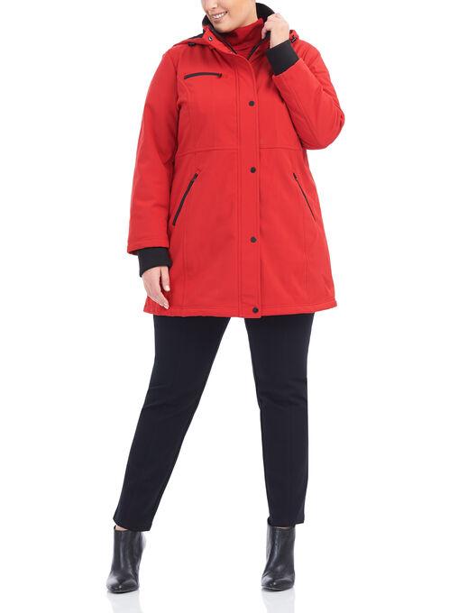 Softshell Detachable Hood Jacket, Red, hi-res