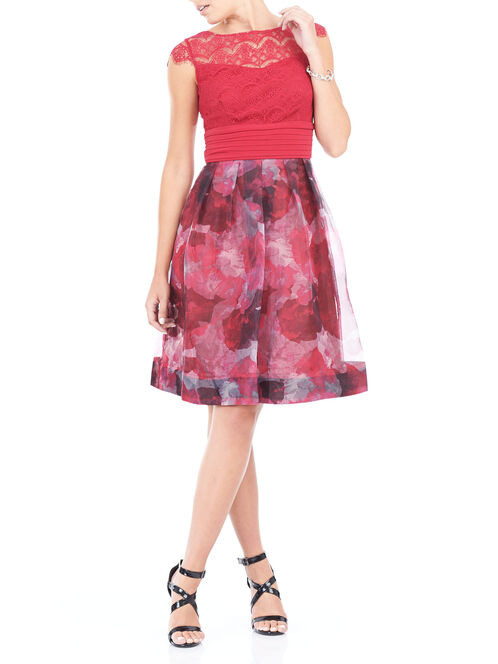 Cap Sleeve Printed Organza Dress, Red, hi-res