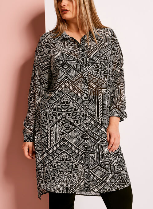 Geometric Print Button Down Tunic, Black, hi-res