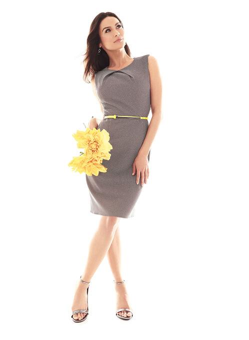 Dot Print Belted Dress, Black, hi-res