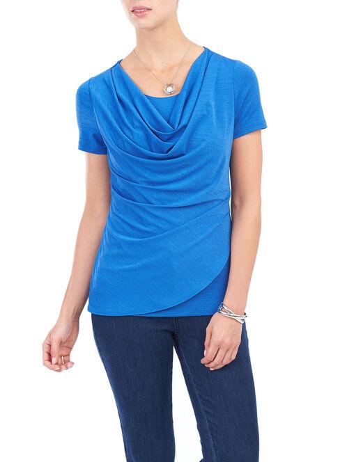 Short Sleeve Draped Front Top, Blue, hi-res