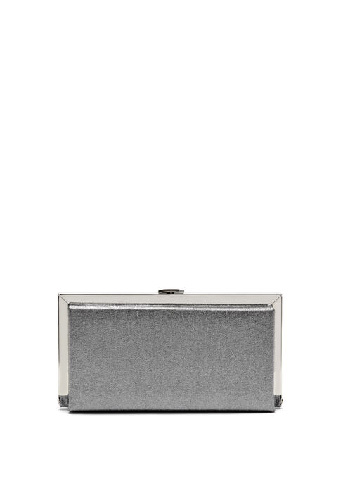 Rectangle Metal Frame Clutch, Silver, hi-res