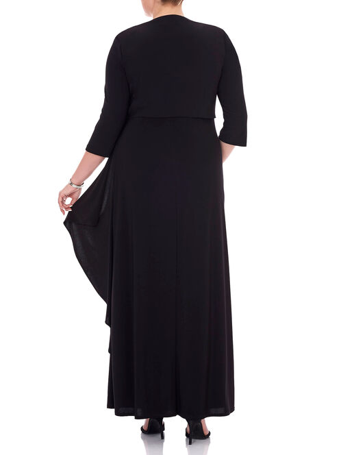 Two Piece Sequined Trim Jersey Gown , Black, hi-res
