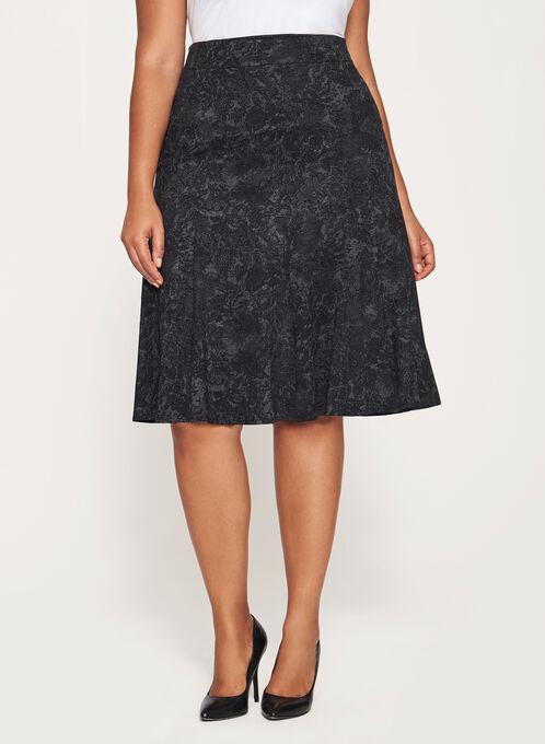Flared Hem Midi Skirt, Grey, hi-res