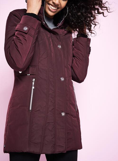 Novelti Faux Fur Polyfill Coat, Red, hi-res
