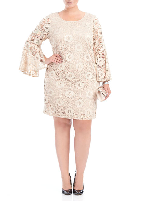 Long Sleeve Lace Shift Dress, Off White, hi-res