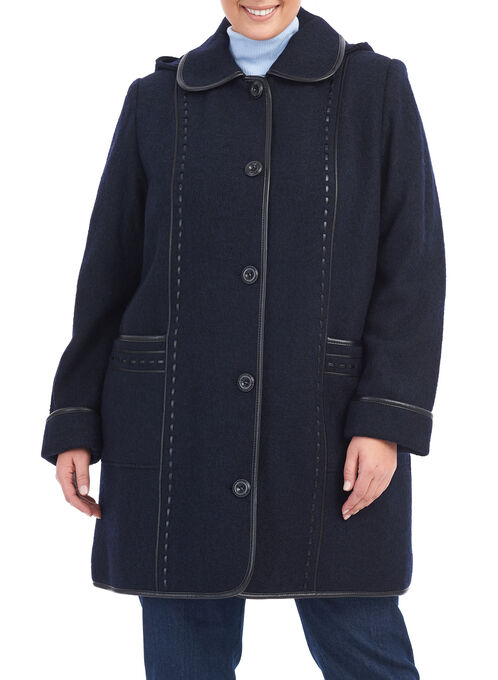 Fen-Nelli Wool Blend Coat , Purple, hi-res