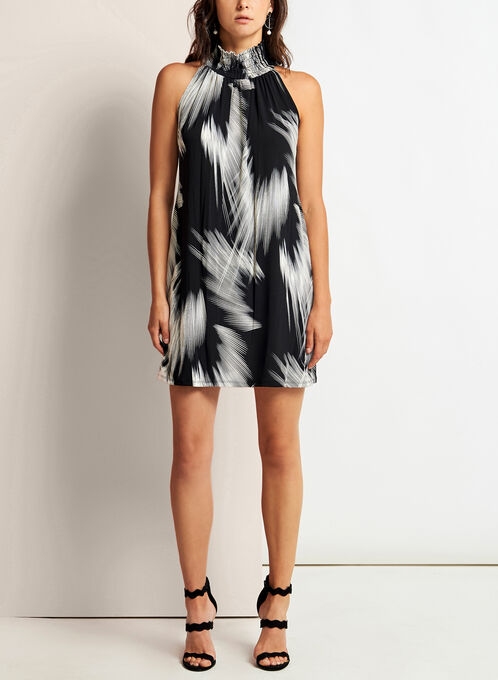 Mock Neck Brushstroke Print Dress