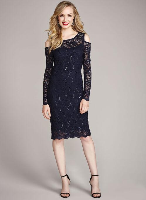 Sequin Lace Cold Shoulder Dress