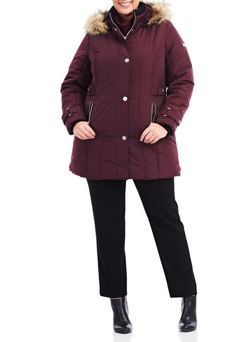 Novelti Faux Fur Polyfill Jacket , Red, hi-res