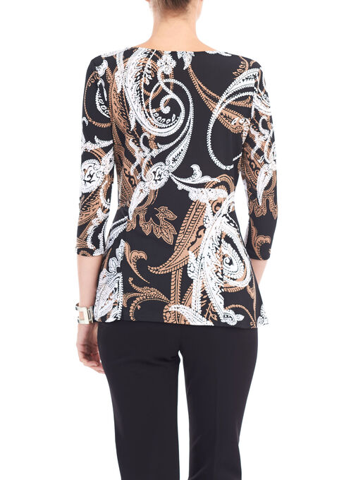 Cut & Sew ¾ Sleeve Tunic, Black, hi-res
