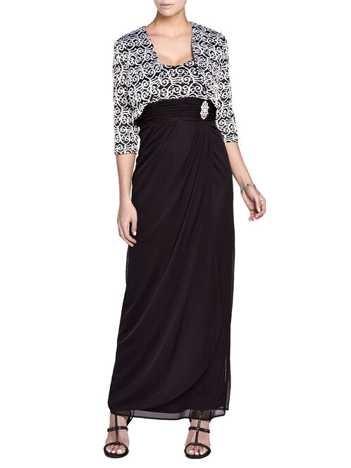 Chiffon & Sequined Dress with Bolero, Black, hi-res