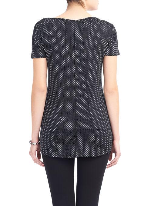 Multi-Seam Mini Dot Print Top, Black, hi-res
