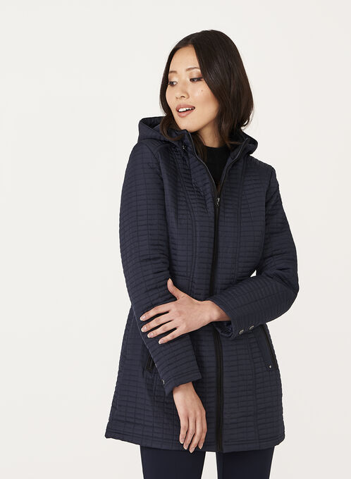 Weatherproof - Hooded Quilted Coat, Blue, hi-res
