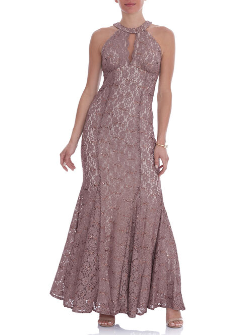 Sleeveless Glitter Lace Gown , Brown, hi-res