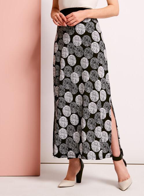 Graphic Dot Print Maxi Skirt, Black, hi-res
