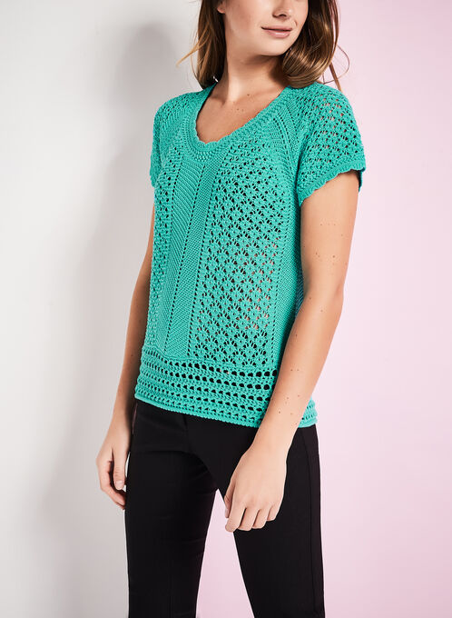 Crochet Knit Scoop Neck Sweater, Blue, hi-res