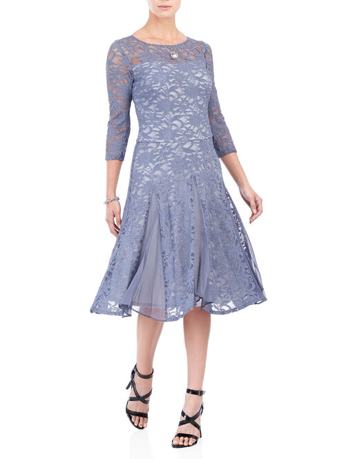 3/4 Sleeve Lace Midi Dress, Grey, hi-res