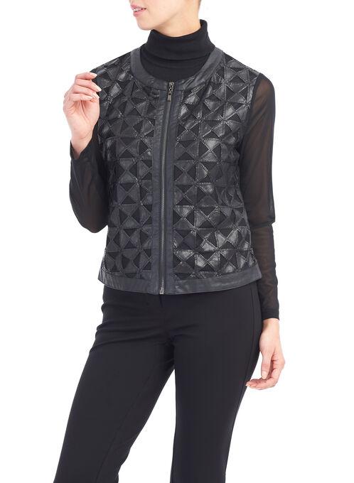 Cut-Out Faux Leather Jacket, Black, hi-res