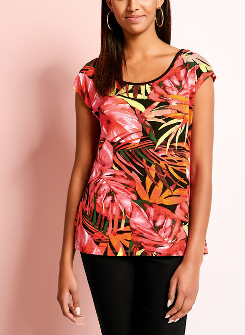 Embellished Sleeveless Tropical Print Top, Red, hi-res