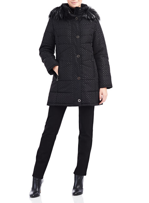 Faux Fur Polyfill Coat, Black, hi-res