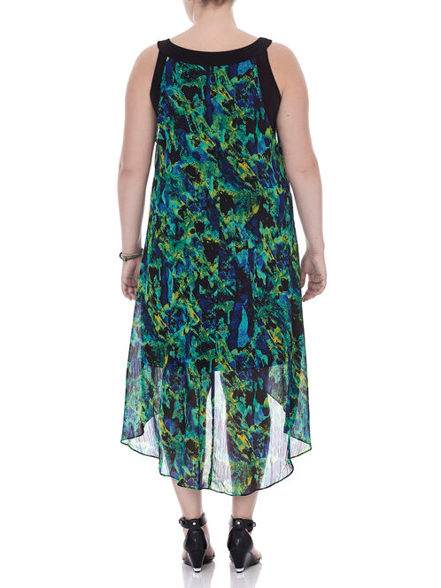 Sleeveless Chiffon Cleo Neck Dress, Green, hi-res