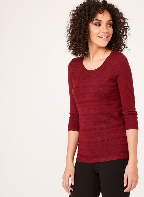 3/4 Sleeve Knit Sweater, Brown, hi-res