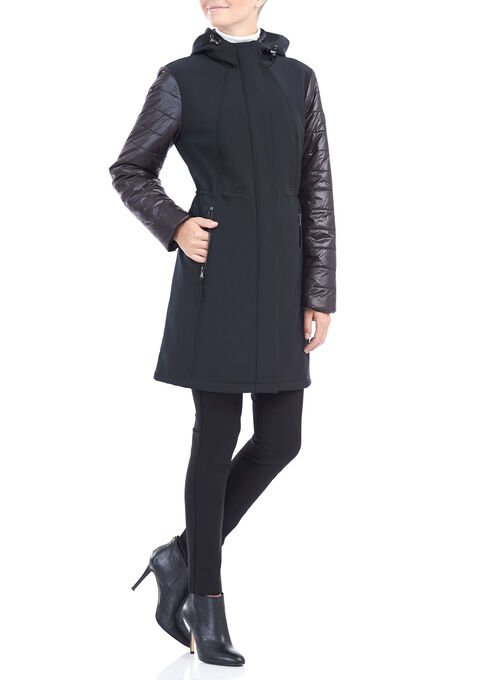 Softshell Quilted Sleeve Jacket , Black, hi-res