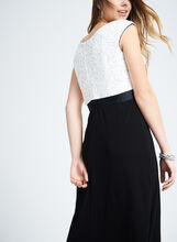 Jersey & Sequined Lace Slit Gown , White, hi-res