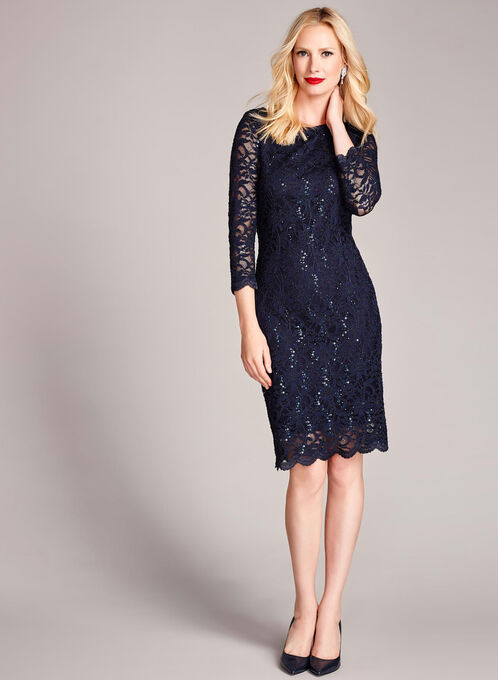 3/4 Sleeve Sequined Lace Dress, Blue, hi-res