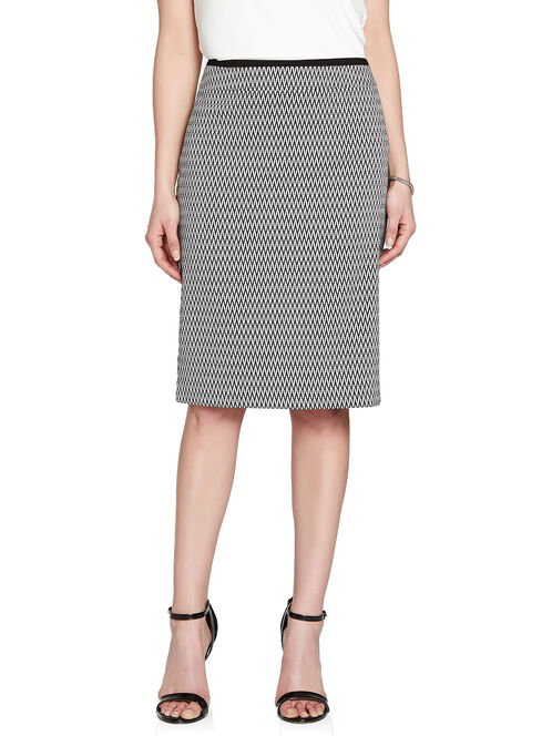 Herringbone Jacquard Pencil Skirt, White, hi-res