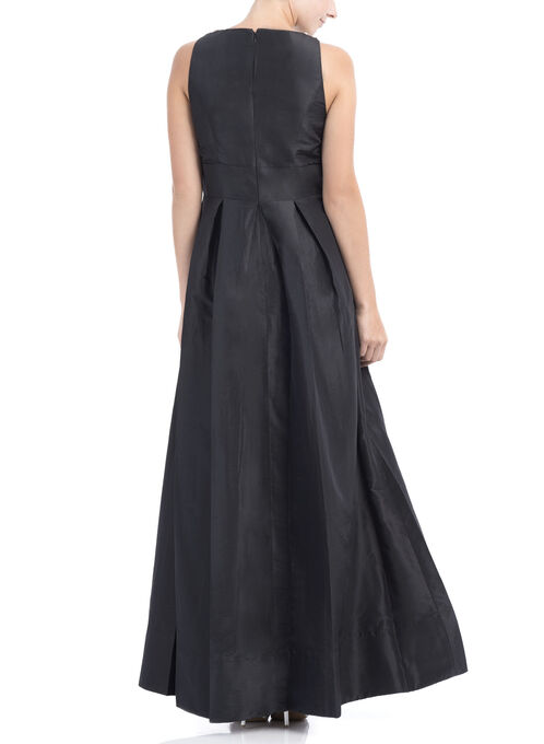 Pearl Neckline Taffeta Dress, Black, hi-res