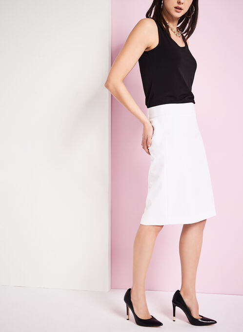 Exposed Zipper Pencil Skirt, Off White, hi-res