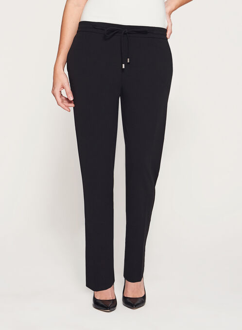 Straight Leg Drawstring Crepe Pants, Black, hi-res