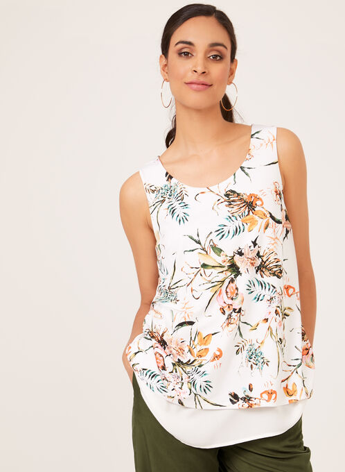 Floral Print Sleeveless Top , White, hi-res
