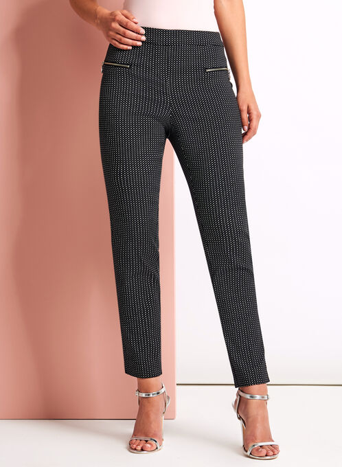 Printed Straight Leg Ankle Pants, Black, hi-res