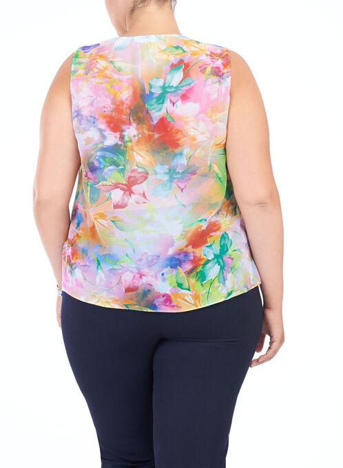 Sleeveless Floral Print Blouse, Multi, hi-res