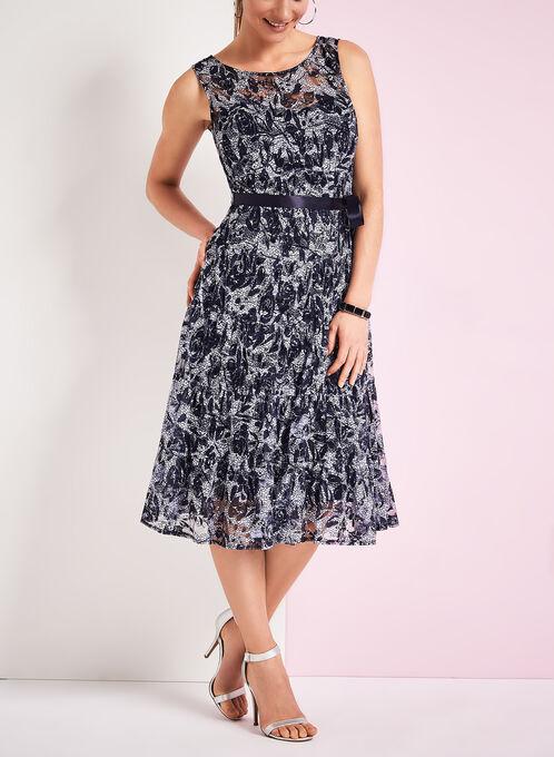 Paisley Print Midi Dress, Blue, hi-res