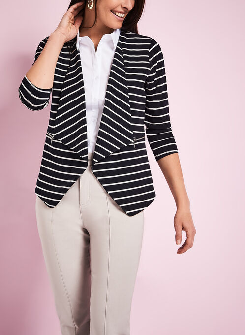 3/4 Sleeve Stripe Print Cardigan, Blue, hi-res