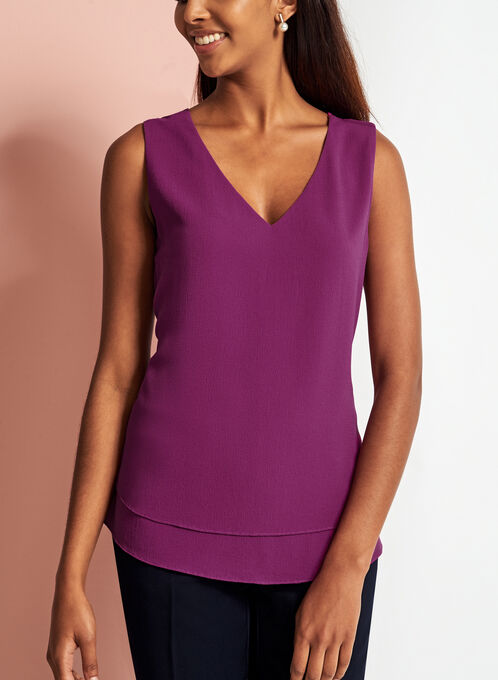 Sleeveless V-Neck Crepe Top, Pink, hi-res