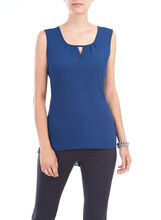 Sleeveless High-Low Blouse, Blue, hi-res