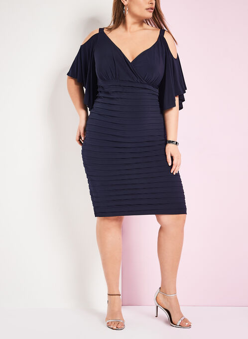 Jersey Cold Shoulder Shutter Dress, Blue, hi-res