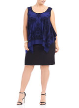 Flocked Velvet Popover Dress, Blue, hi-res