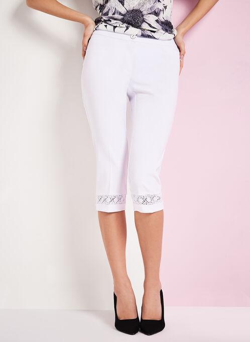 Modern Fit Lace Trim Capris, White, hi-res