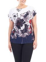 Short Sleeve Floral Print Top, Blue, hi-res