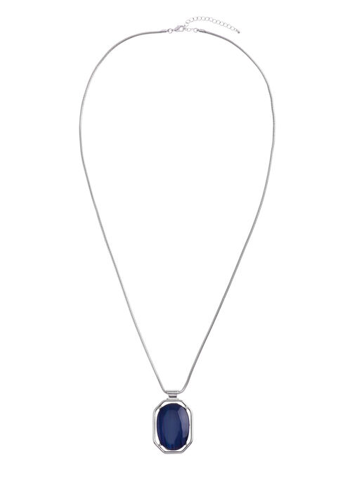 Reversible Snake Chain Necklace, Blue, hi-res
