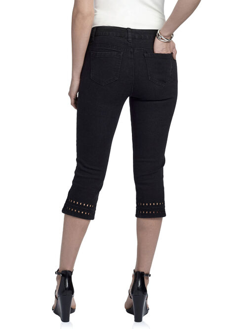 Denim Cutout Detail Capri Pants, Black, hi-res