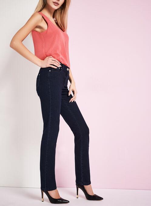 Tummy Control Straight Leg Jeans, Blue, hi-res